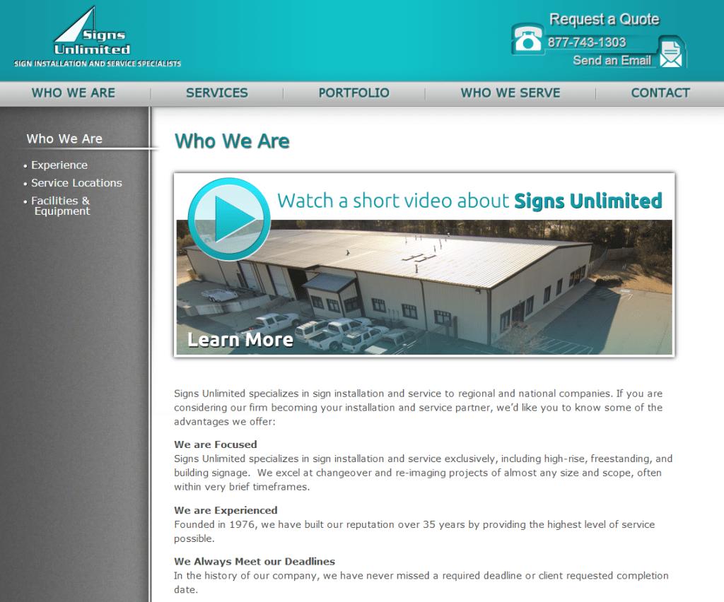 Sign Installation Company Website